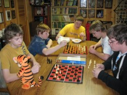The Boy Scouts play chess during the overnighter in 2009.