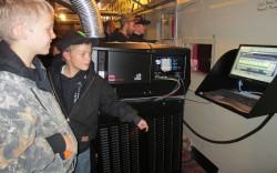 Boy Scouts visit projection booth.