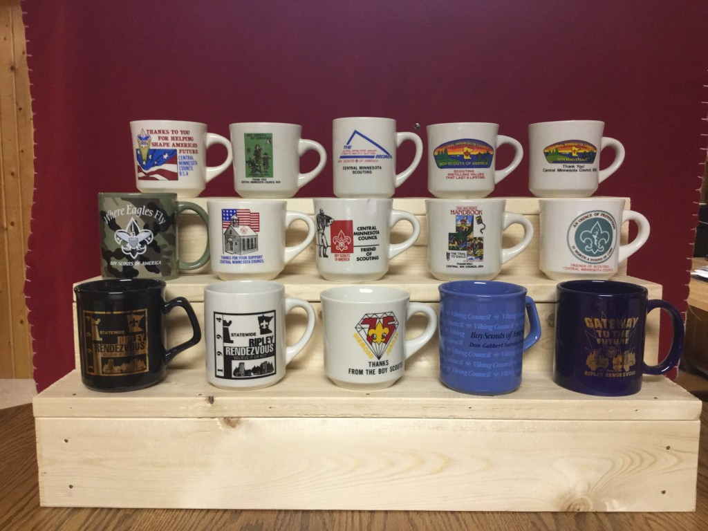 Scouting mugs display