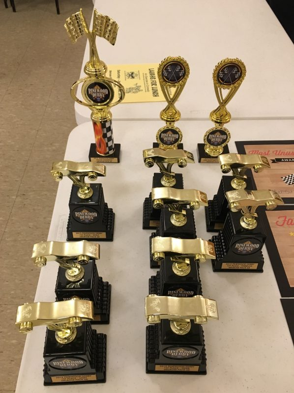 2019 Pinewood Derby Trophies