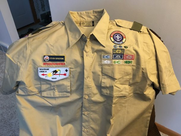 Boy Scout uniform shirt.