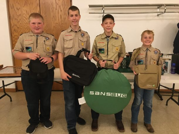 Boy Scout top sellers with their prizes.